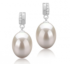 9-10mm AAA Quality Freshwater Cultured Pearl Earring Pair in Karley White