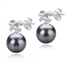 9-10mm AAA Quality Tahitian Cultured Pearl Earring Pair in Marte Black