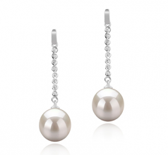 10-11mm AAAA Quality Freshwater Cultured Pearl Earring Pair in Porsha White