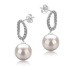 9-10mm AAAA Quality Freshwater Cultured Pearl Earring Pair in Sabrina White