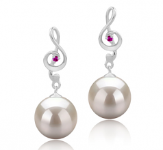 9-10mm AAAA Quality Freshwater Cultured Pearl Earring Pair in Cheryl White