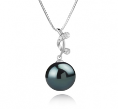 11-12mm AAA Quality Tahitian Cultured Pearl Pendant in Angie Black