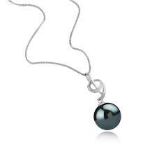 11-12mm AAA Quality Tahitian Cultured Pearl Pendant in Sofie Black
