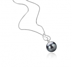 10-11mm AAA Quality Tahitian Cultured Pearl Pendant in Belinda Black