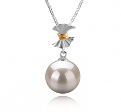 9-10mm AAAA Quality Freshwater Cultured Pearl Pendant in Belva White