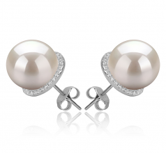 10-11mm AAAA Quality Freshwater Cultured Pearl Earring Pair in Tammy White