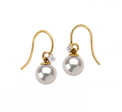 8-8.5mm AAAA Quality Freshwater Cultured Pearl Earring Pair in Artsy White