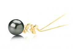 10-10.5mm AAA Quality Tahitian Cultured Pearl Pendant in Barbara Black