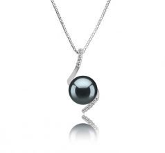 9-10mm AAA Quality Tahitian Cultured Pearl Pendant in Mathilde Black