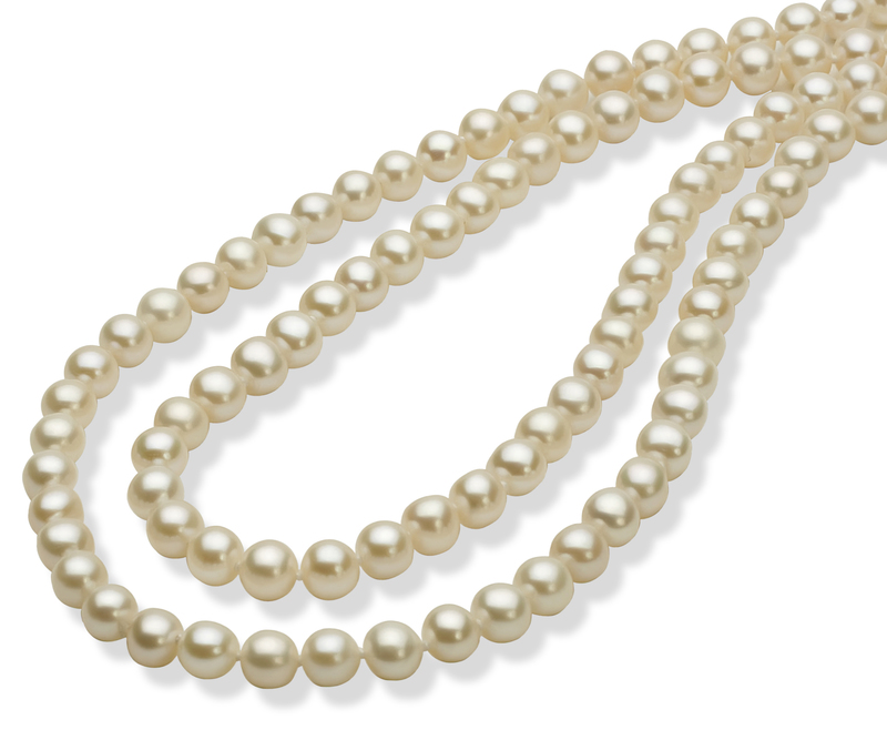 PearlsOnly - 30 inches White 5-6mm AAA Quality Freshwater White Bronze Cultured Pearl Necklace