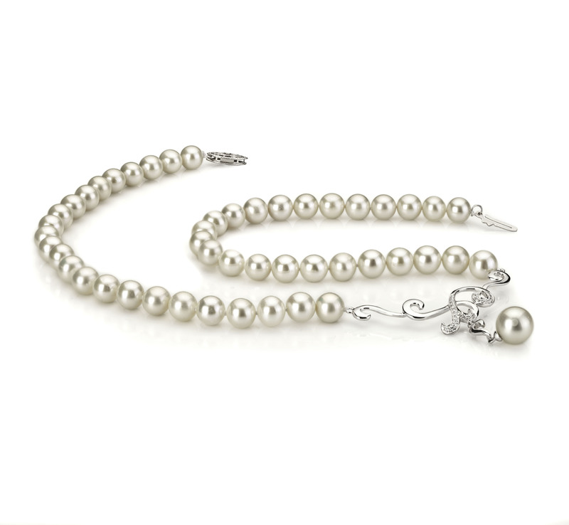 PearlsOnly - Almira White 6-10mm AA Quality Freshwater 925 Sterling Silver Cultured Pearl Necklace