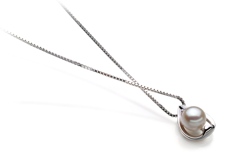 PearlsOnly - Amanda White 6-7mm AA Quality Japanese Akoya 925 Sterling Silver Cultured Pearl Pendant