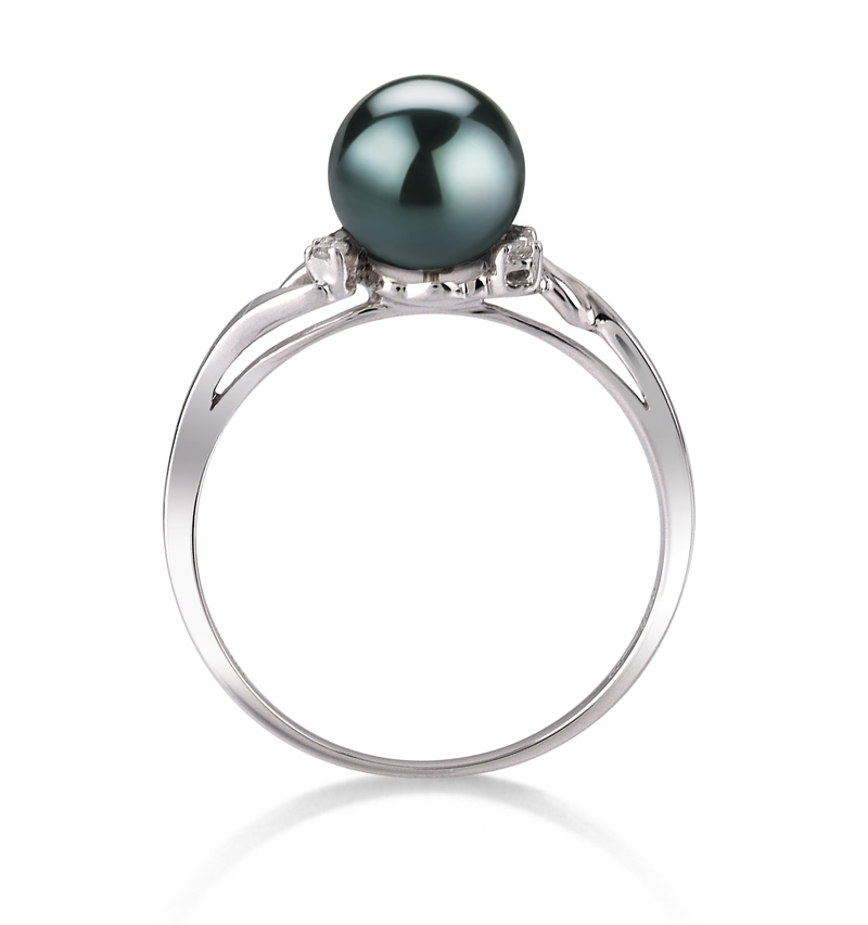 PearlsOnly - Andrea Black 6-7mm AAA Quality Japanese Akoya 14K White Gold Cultured Pearl Ring
