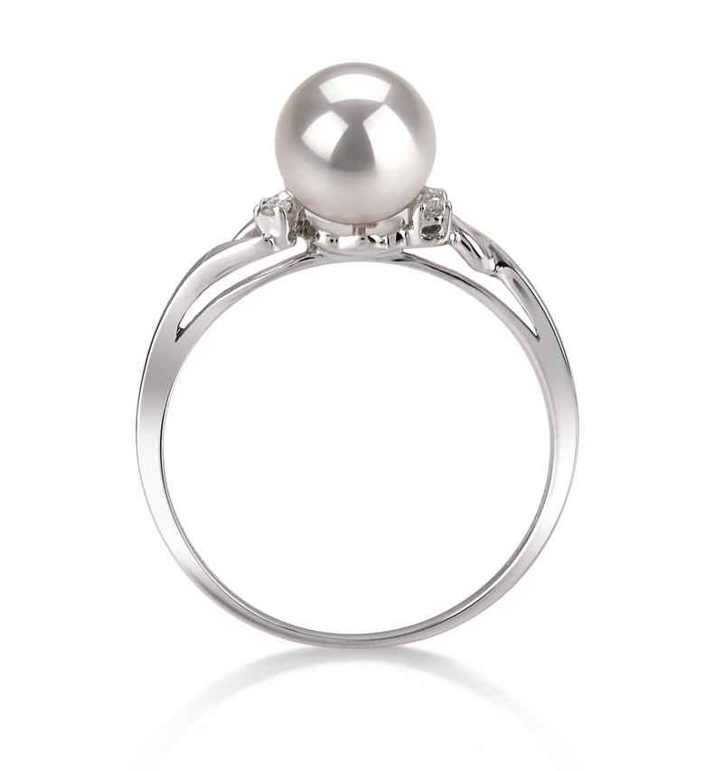 PearlsOnly - Andrea White 6-7mm AAA Quality Japanese Akoya 14K White Gold Cultured Pearl Ring