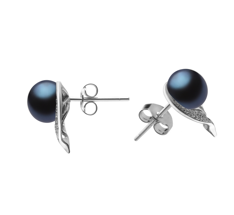 7-8mm AA Quality Freshwater Cultured Pearl Earring Pair in Carina Black