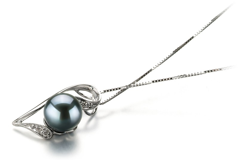Carlin Black 7-8mm AAA Quality Japanese Akoya 14K White Gold Cultured Pearl Pendant