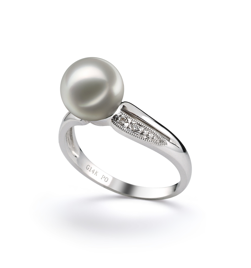 PearlsOnly - Caroline White 7-8mm AAA Quality Japanese Akoya 14K White Gold Cultured Pearl Ring