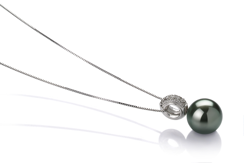 10-10.5mm AAA Quality Tahitian Cultured Pearl Pendant in Cecilia Black