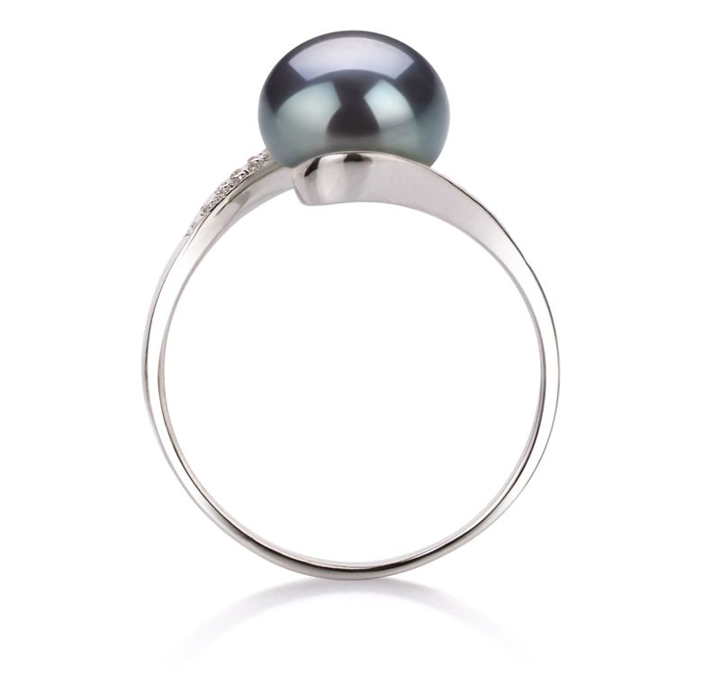 9-10mm AA Quality Freshwater Cultured Pearl Ring in Chantel Black