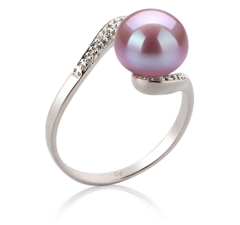 9-10mm AA Quality Freshwater Cultured Pearl Ring in Chantel Lavender