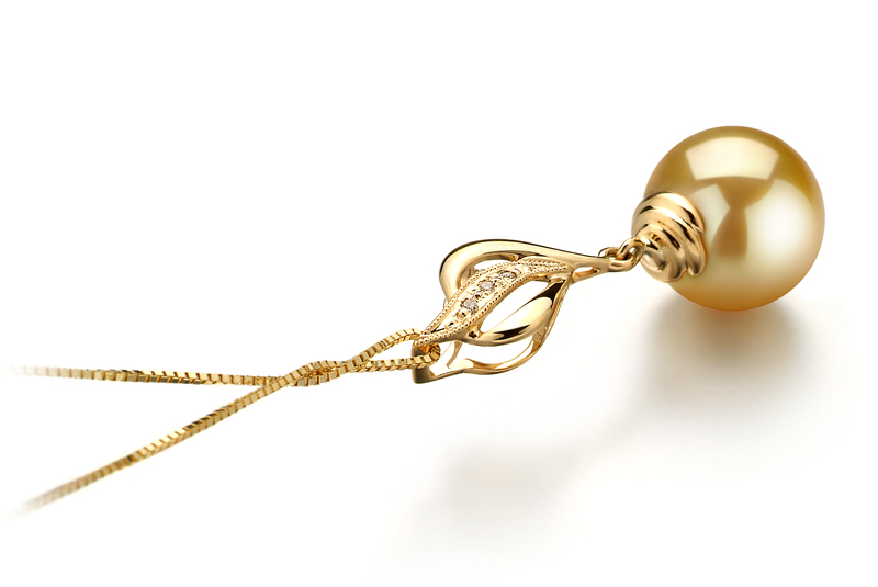 PearlsOnly - Damica Gold 10-11mm AAA Quality South Sea 14K Yellow Gold Cultured Pearl Pendant