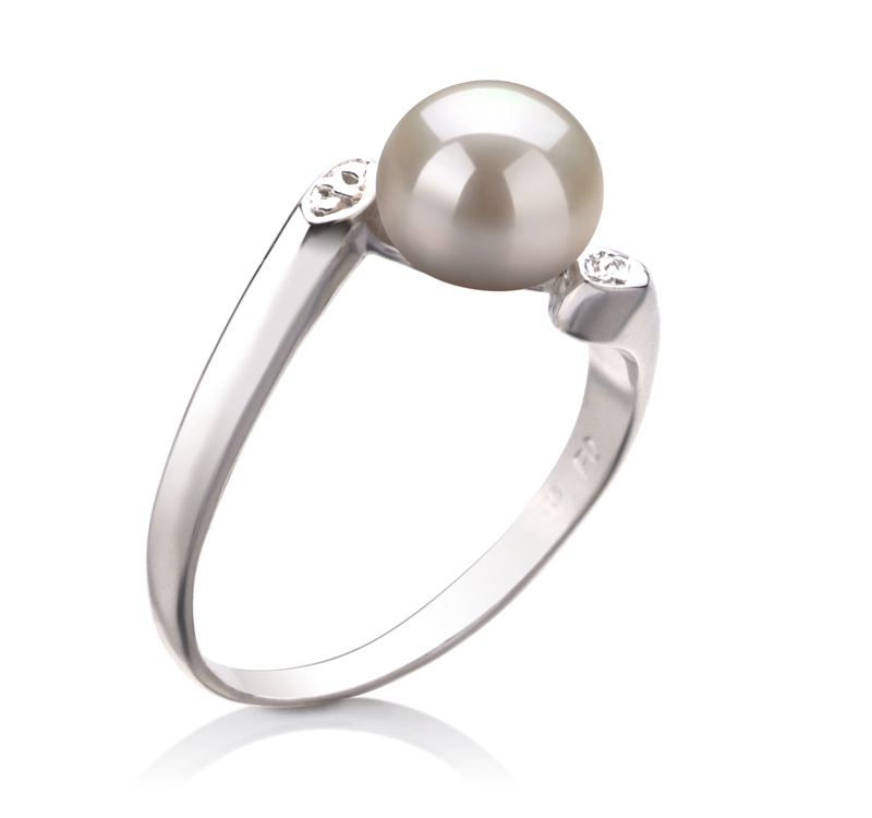 PearlsOnly - Dana White 6-7mm AAA Quality Freshwater 925 Sterling Silver Cultured Pearl Ring