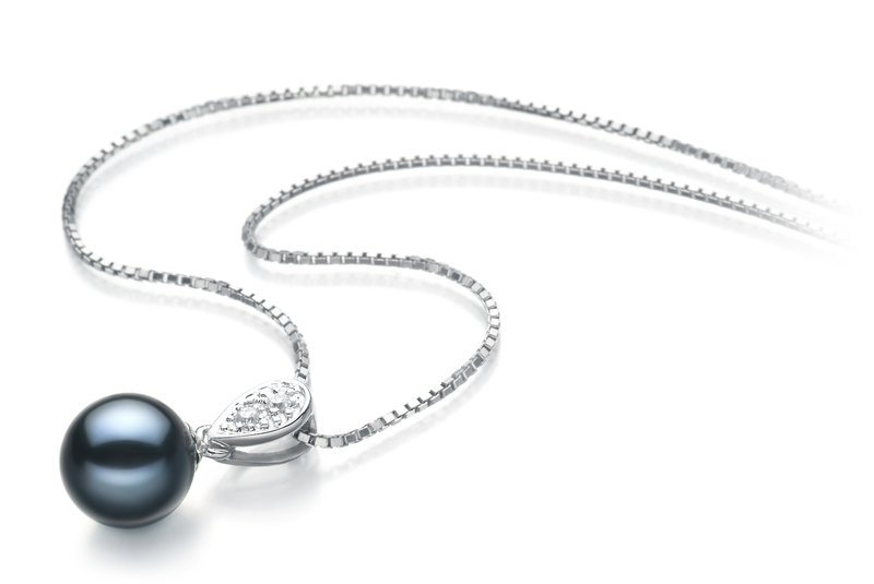 7-8mm AAAA Quality Freshwater Cultured Pearl Pendant in Daria Black