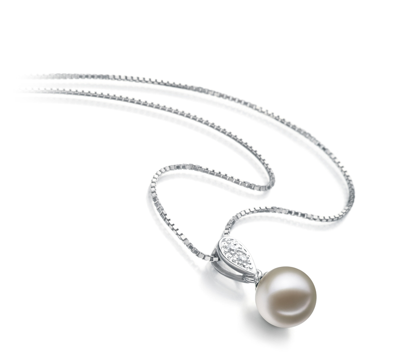 7-8mm AAAA Quality Freshwater Cultured Pearl Pendant in Daria White