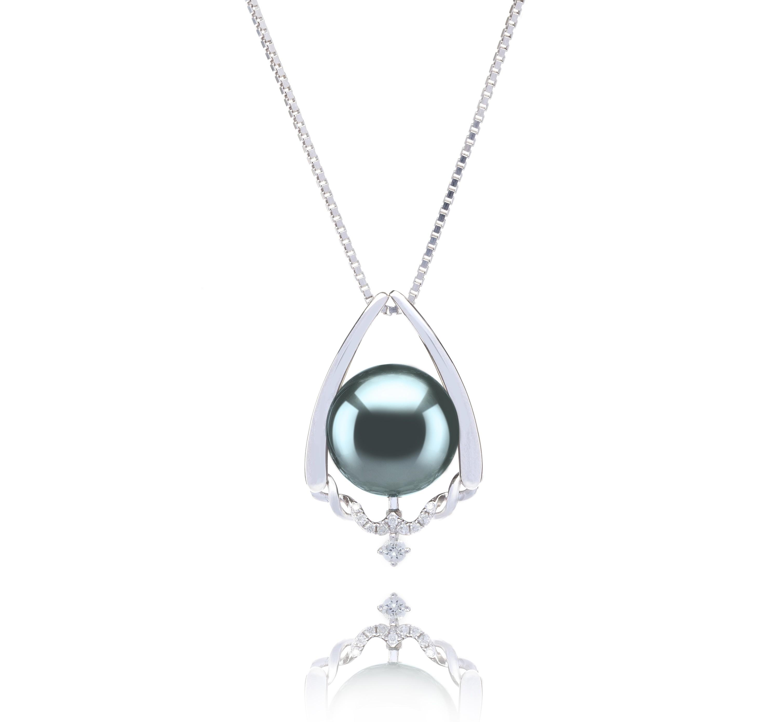 10-11mm AAA Quality Tahitian Cultured Pearl Pendant in Susan Black