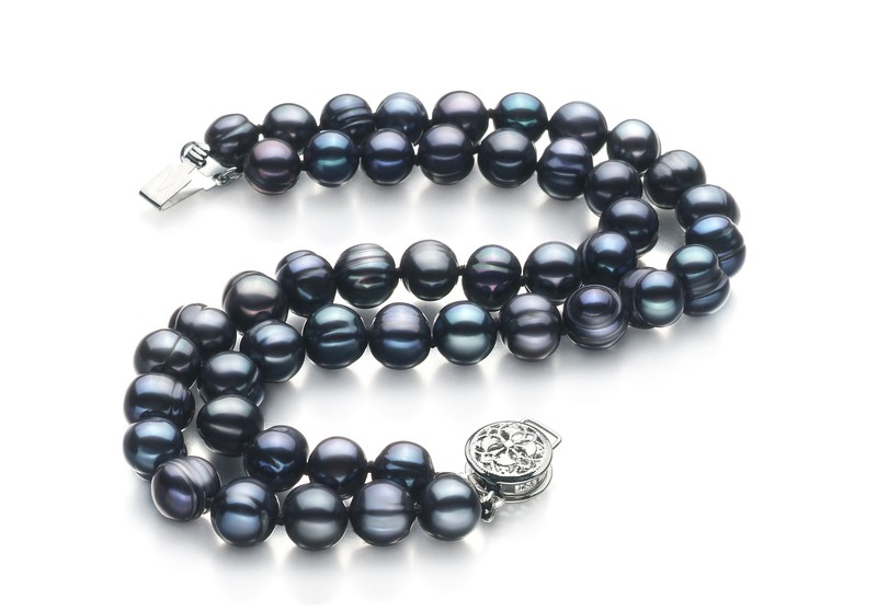 6-7mm A Quality Freshwater Cultured Pearl Bracelet in Double Strand Black