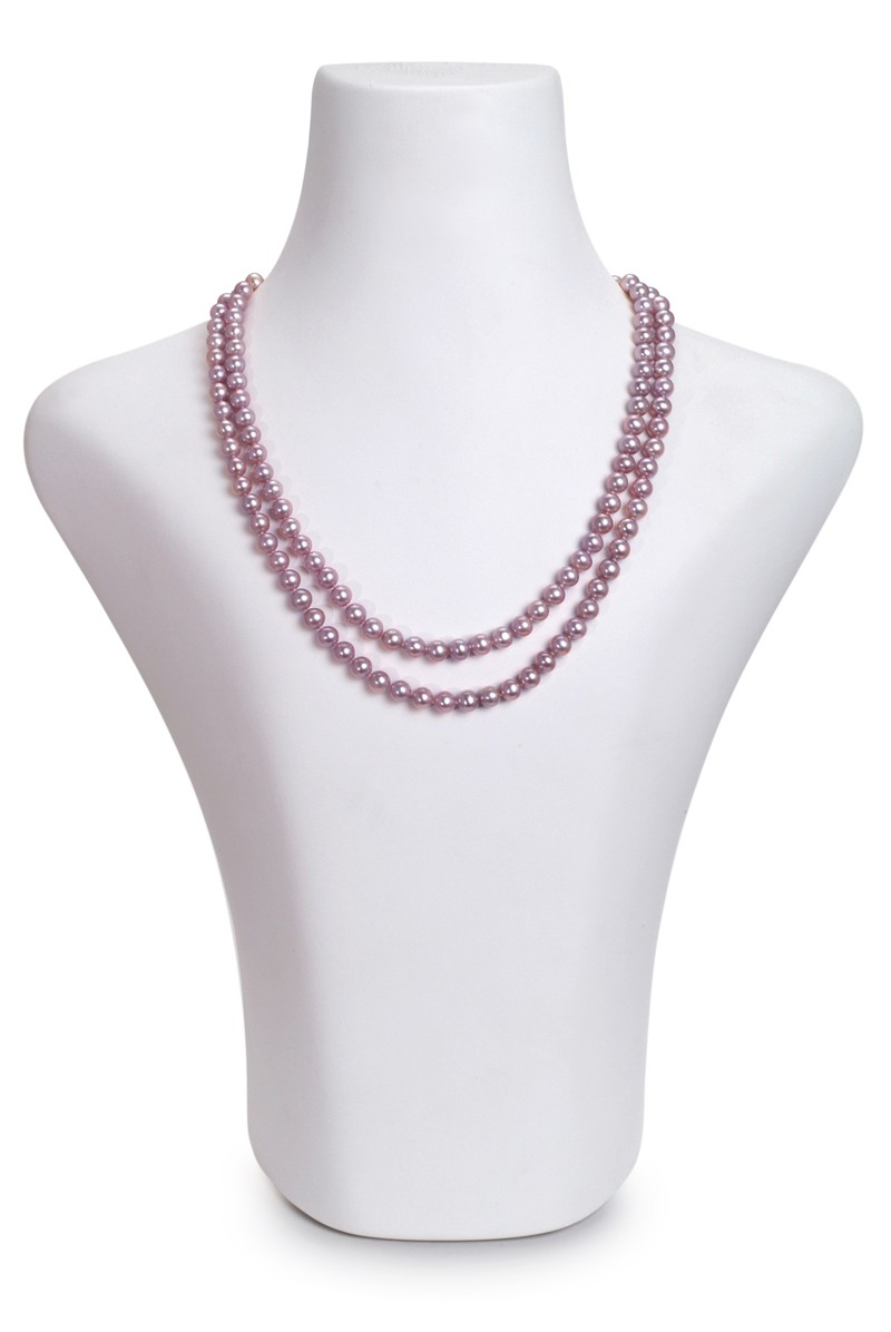 6-6.5mm AA Quality Freshwater Cultured Pearl Necklace in Double Strand Lavender