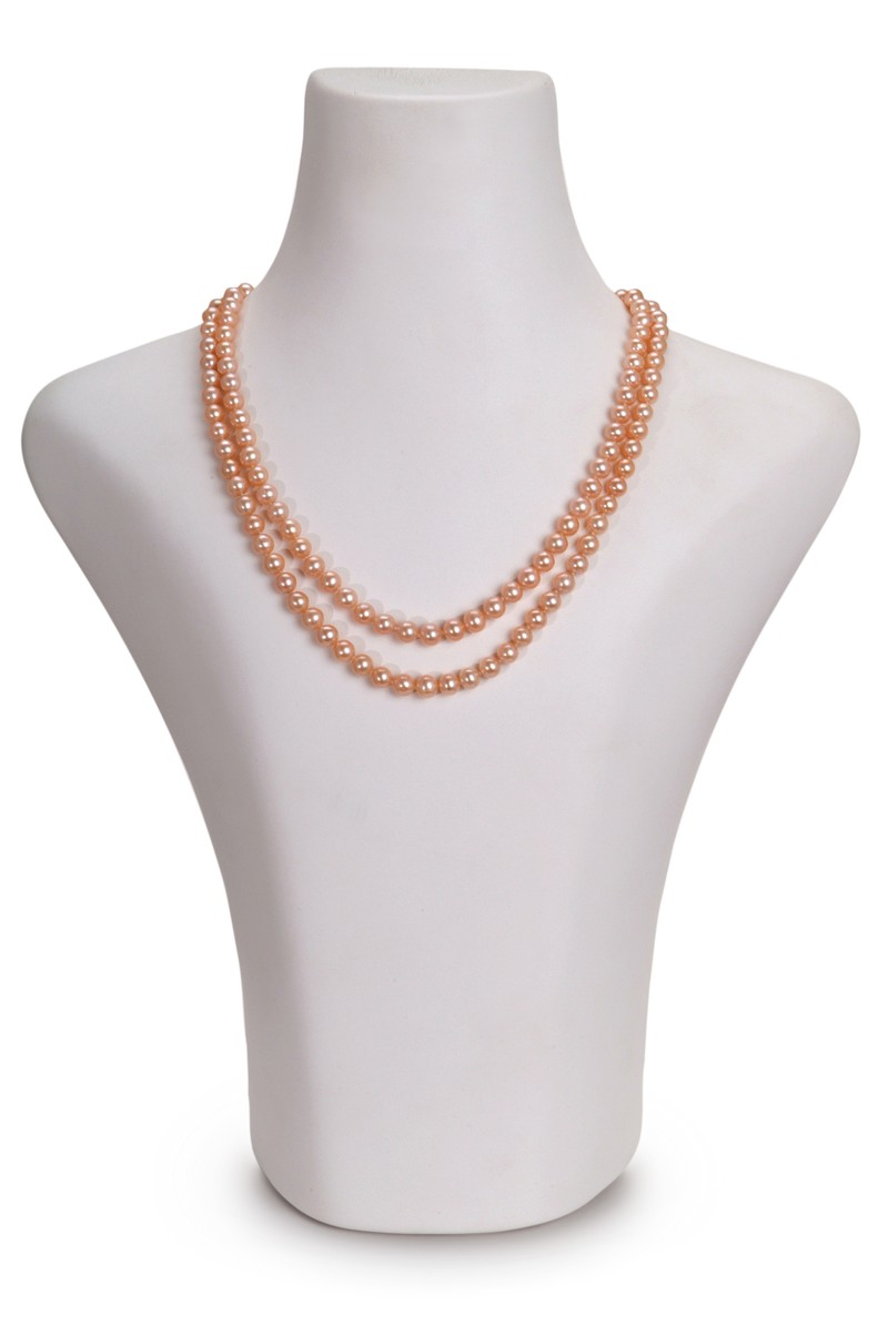 6-7mm AA Quality Freshwater Cultured Pearl Necklace in Double Strand Pink
