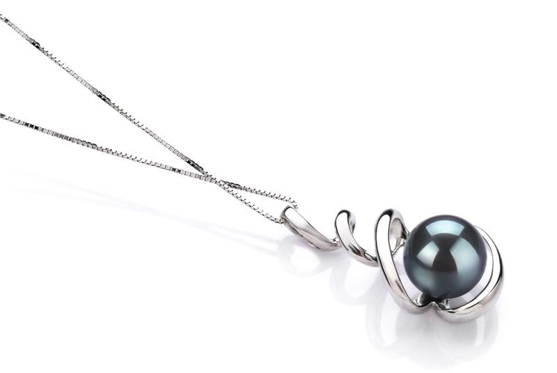 8-9mm AAA Quality Japanese Akoya Cultured Pearl Pendant in Eldova Black