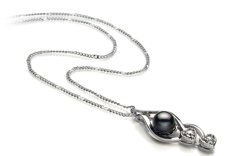 7-8mm AA Quality Freshwater Cultured Pearl Pendant in Eudora Black