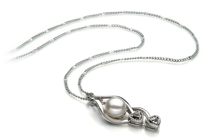 7-8mm AA Quality Freshwater Cultured Pearl Pendant in Eudora White