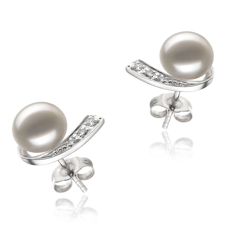 Claudia White 7-8mm AA Quality Freshwater 925 Sterling Silver Pearl Earring Set