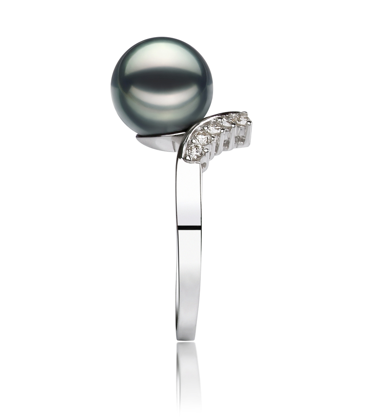 PearlsOnly - Grace Black 8-9mm AA Quality Japanese Akoya 14K White Gold Cultured Pearl Ring