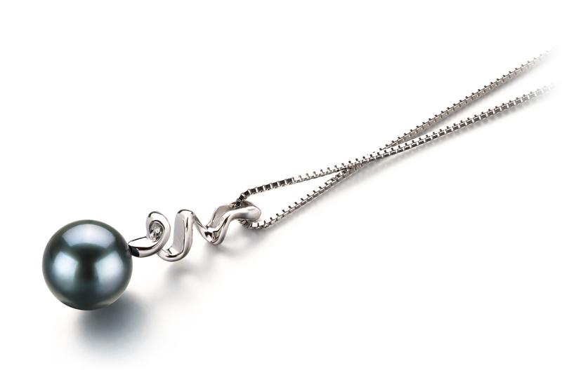 PearlsOnly - Greta Black 6-7mm AA Quality Japanese Akoya 14K White Gold Cultured Pearl Pendant