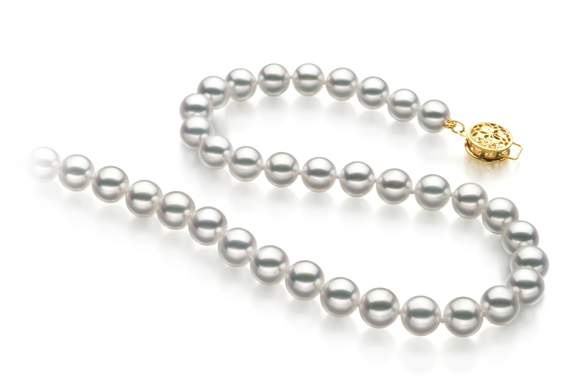 Hanadama 18-inch White 6.5-7mm Hanadama - AAAA Quality Japanese Akoya 14K Yellow Gold Cultured Pearl Necklace