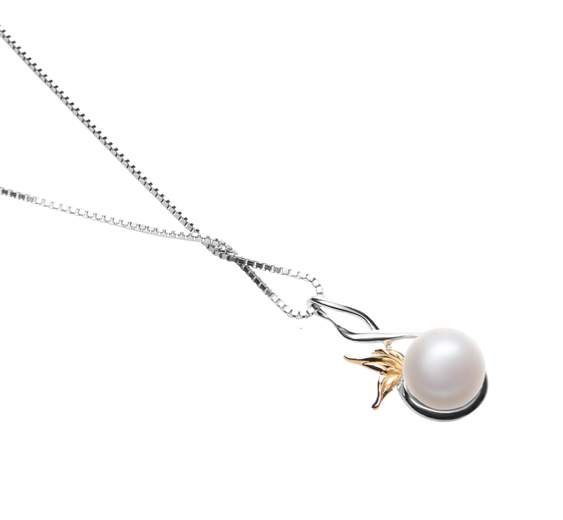 8-9mm AAA Quality Freshwater Cultured Pearl Pendant in Hester White