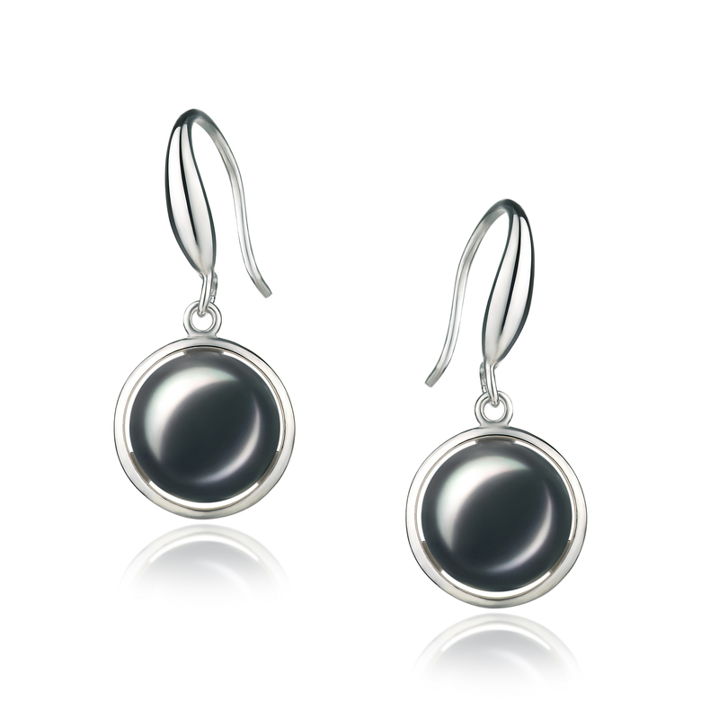 PearlsOnly - Holly Black 9-10mm AA Quality Freshwater 925 Sterling Silver Cultured Pearl Earring Pair Pearl Earring Set