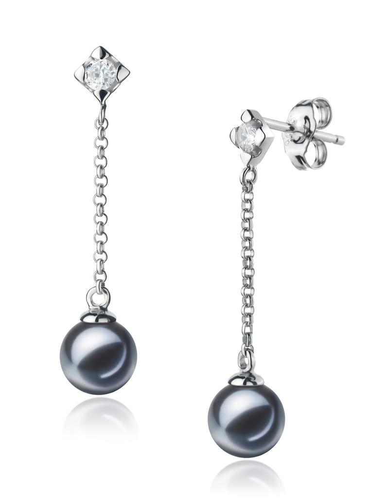 PearlsOnly - Ingrid Black 6-7mm AAAA Quality Freshwater 925 Sterling Silver Cultured Pearl Earring Pair Pearl Earring Set