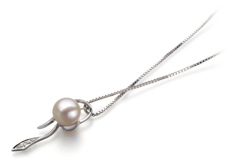 7-8mm AAAA Quality Freshwater Cultured Pearl Pendant in Jennifer White