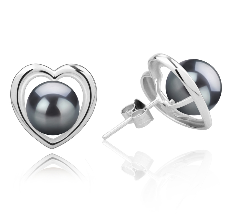 8-9mm AAA Quality Tahitian Cultured Pearl Earring Pair in Kimberly-Heart Black