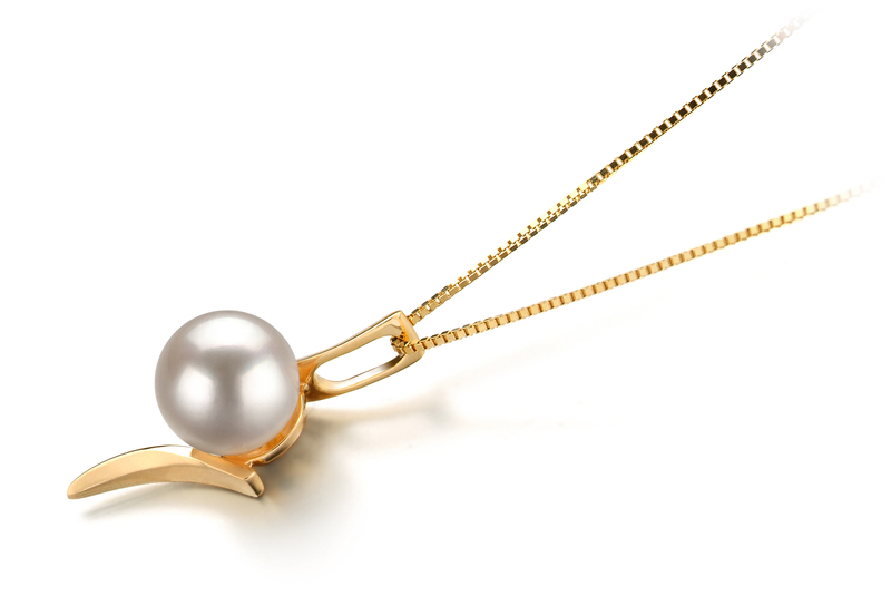6-7mm AA Quality Japanese Akoya Cultured Pearl Pendant in Lanella White