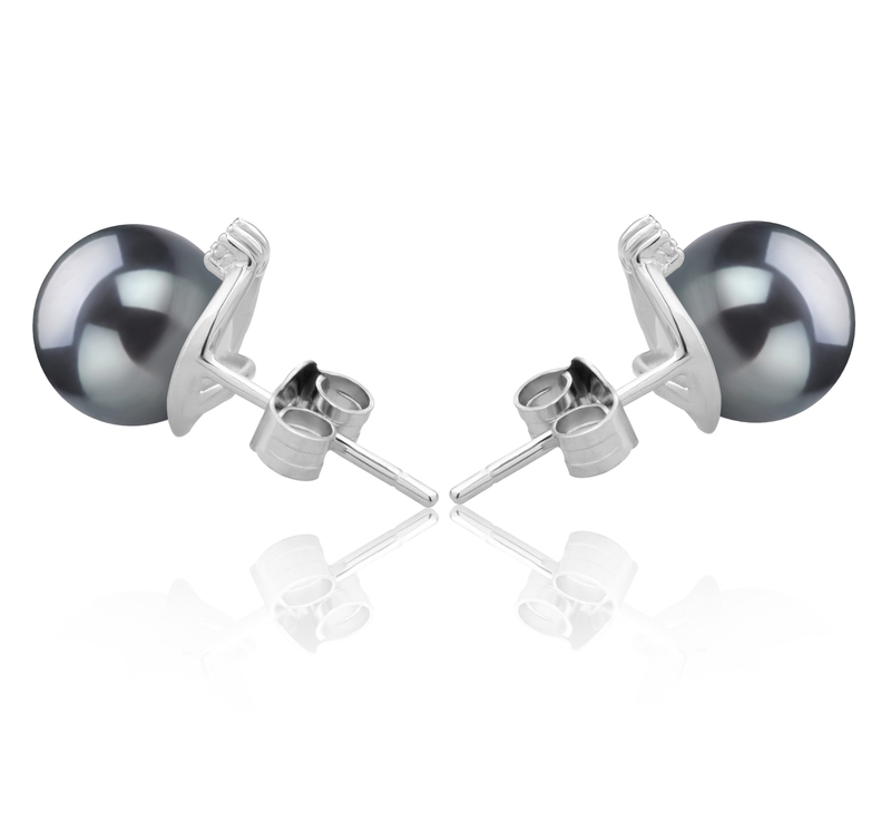 7-8mm AAAA Quality Freshwater Cultured Pearl Earring Pair in Leslie Black