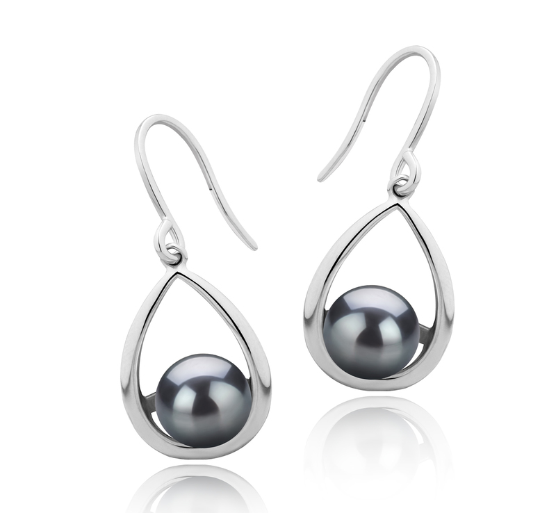 7-8mm AAAA Quality Freshwater Cultured Pearl Earring Pair in Marcia Black