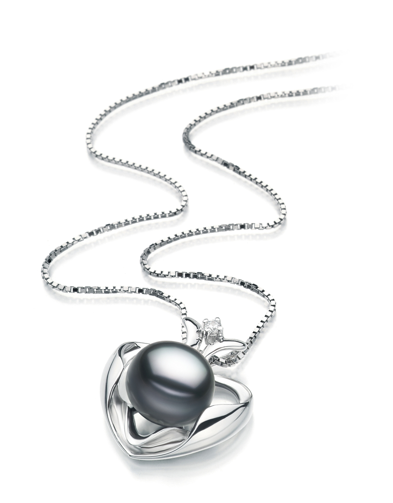 PearlsOnly - Marlina Heart Black 9-10mm AA Quality Freshwater 925 Sterling Silver Cultured Pearl Pendant