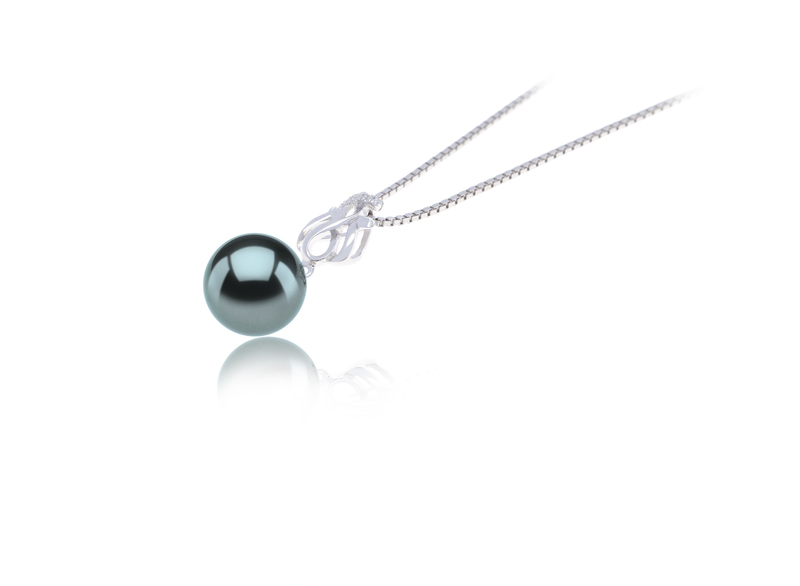 9-10mm AAA Quality Tahitian Cultured Pearl Pendant in Merina Black