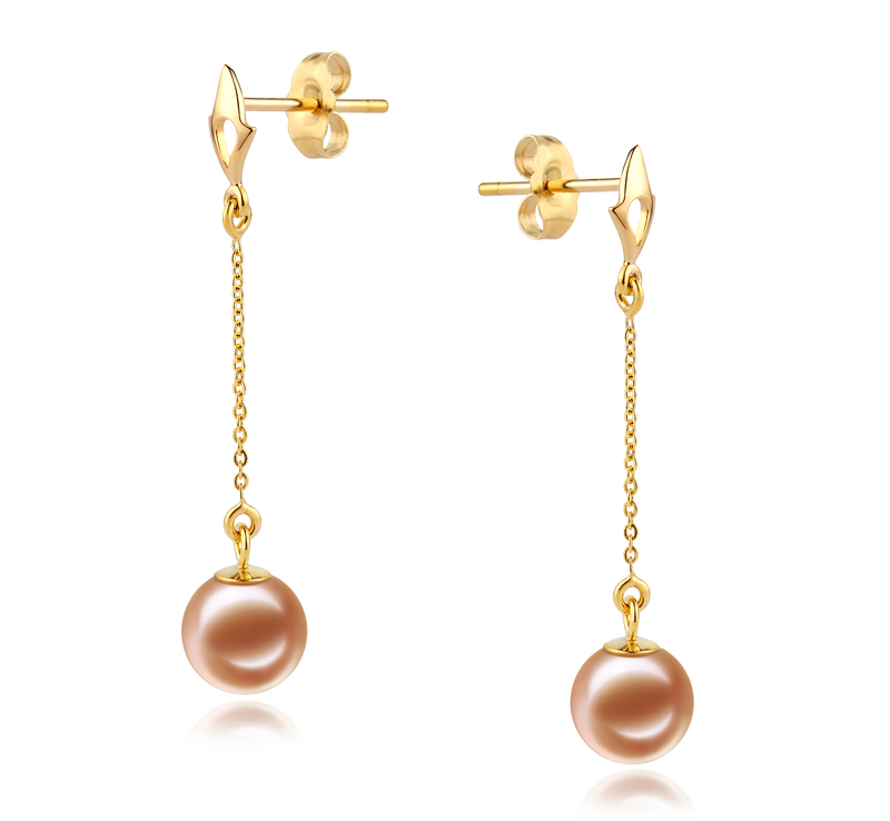 6-7mm AAAA Quality Freshwater Cultured Pearl Earring Pair in Misha Pink